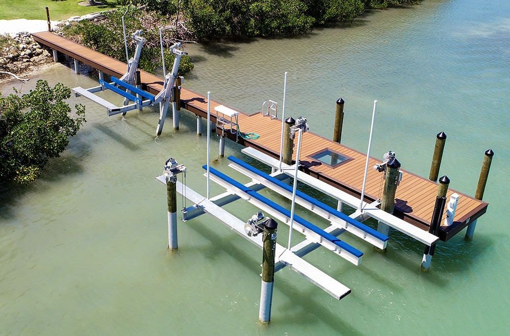 dock and boat lift on water