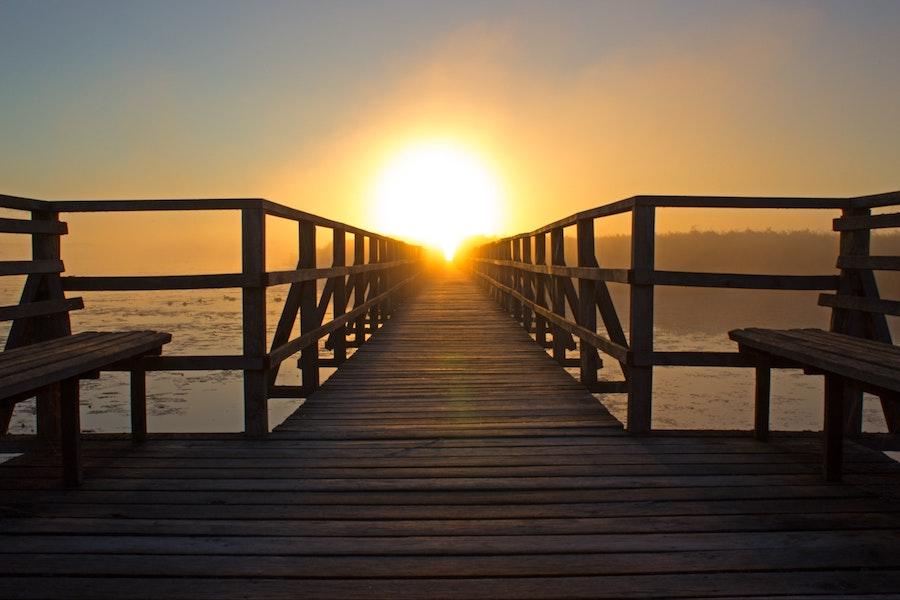 sunset dock on the beach